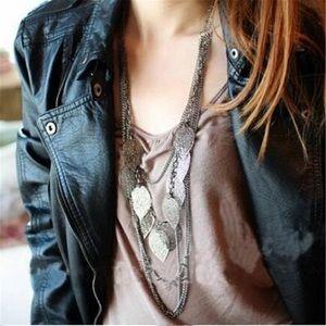 ❤️gorgeous silver multilayer leaf statement neckla
